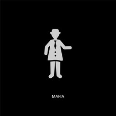 white mafia vector icon on black background. modern flat mafia from professions and jobs concept vector sign symbol can be use for web, mobile and logo.