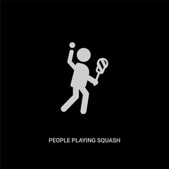 white people playing squash vector icon on black background. modern flat people playing squash from recreational games concept vector sign symbol can be use for web, mobile and logo.