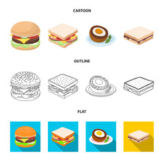 Papiers peints Snack Vector illustration of sandwich and wrap symbol. Set of sandwich and lunch vector icon for stock.
