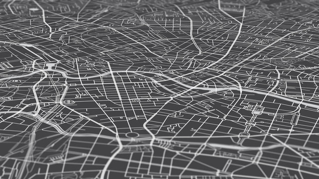 Aerial view city map Berlin, monochrome detailed plan, urban grid in perspective