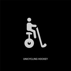 white unicycling hockey vector icon on black background. modern flat unicycling hockey from sport concept vector sign symbol can be use for web, mobile and logo.