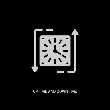 white uptime and downtime vector icon on black background. modern flat uptime and downtime from technology concept vector sign symbol can be use for web, mobile and logo.