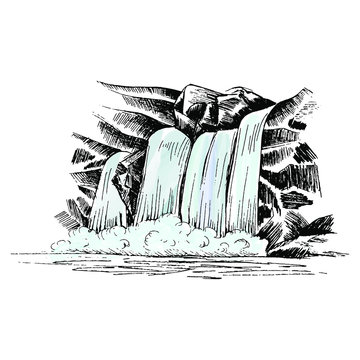 Waterfall vector sketch. Cascade waterfall in the rocks hand-drawn vector illustration. Landscape with a waterfall, isolated on white background.
