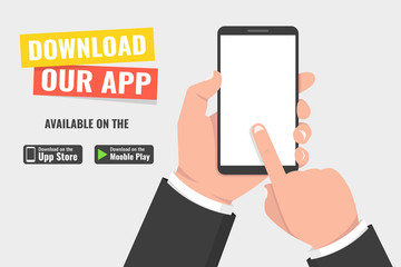 Download page of the mobile app. Hand holding smartphone and touching screen. Vector illustration.