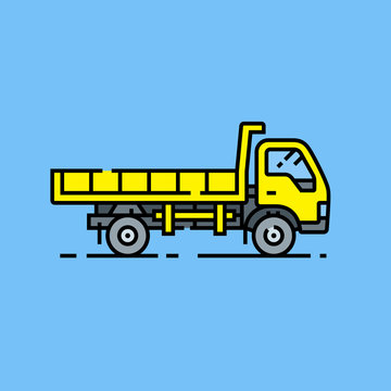 Yellow dump truck line icon. Tipper lorry symbol. Large yellow construction vehicle graphic isolated on blue background. Vector illustration.