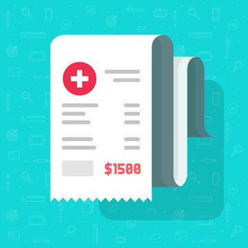 Medical health care receipt or healthcare bill vector illustration, flat cartoon paper medicine or pharmacy cheque, idea of invoice or health care expenses image