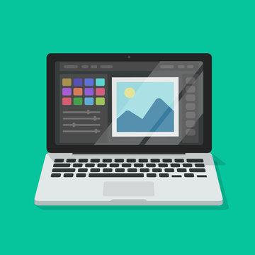Photo or graphic editor on computer vector illustration, flat cartoon laptop screen with design or image editing software or program isolated image