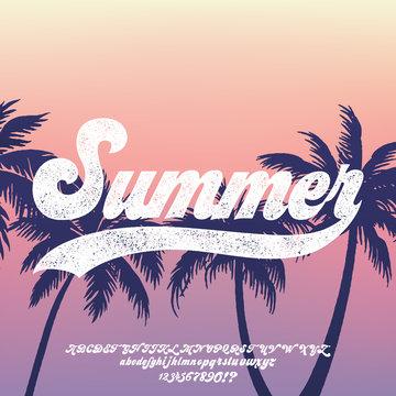 California. Hand made script font. Vacation summer time. Waikiki beach. Vector illustration. Retro typeface and logo. Summer style.