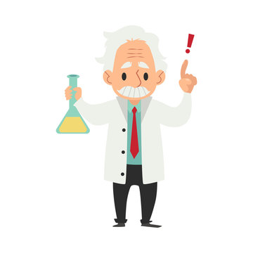 An old wise man with a mustache conducts a scientific experiment or test with a flask.