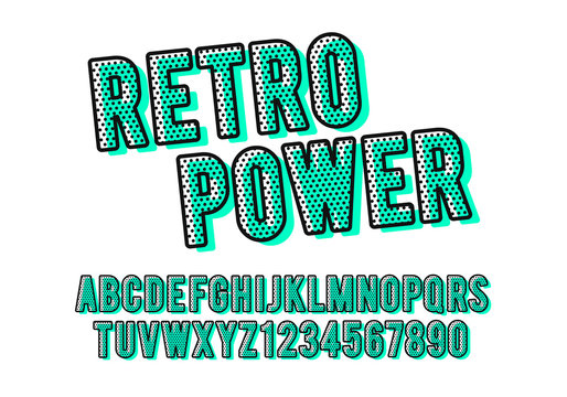 Vector Illustration modern colorful retro font and alphabet, dot filled typeface.