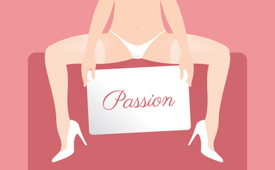 Vector illustration of a pretty girl with white underwear, stockings and boat shoes. Holding a sign.