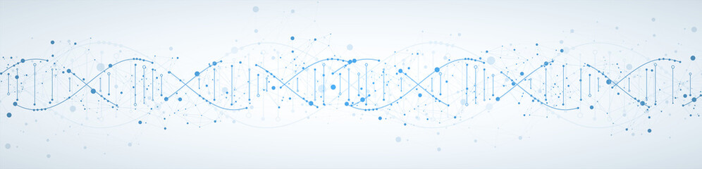 Science template, wallpaper or banner with a DNA molecules. Vector illustration