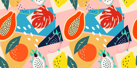 Contemporary abstract floral seamless pattern. Modern exotic tropical fruits and plants. Vector colored design. Wall mural