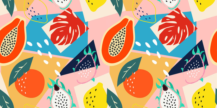 Contemporary abstract floral seamless pattern. Modern exotic tropical fruits and plants. Vector colored design.