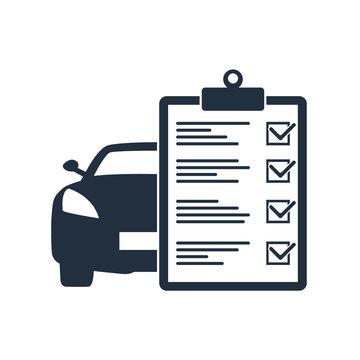 Car maintenance list icon. Car with check list.