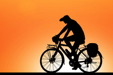 Poster Cycling Silhouette cycling on blurry sunrise sky background.