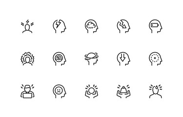 Stress and Depression Related Vector Icon Set. Thin Line Style. 48x48 Pixel Perfect