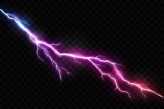 Vector Realistic Lightning and Glowing Thunder Bolt