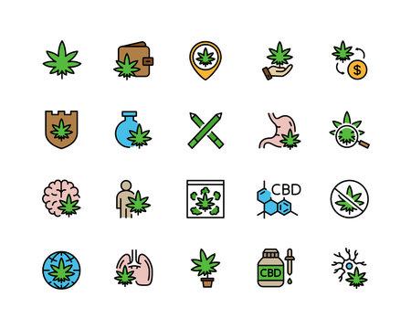 Set of cannabidiol flat color line icons. CBD, cannabis, marijuana oil, tobacco, hemp flower buds, treatment, weed and more.