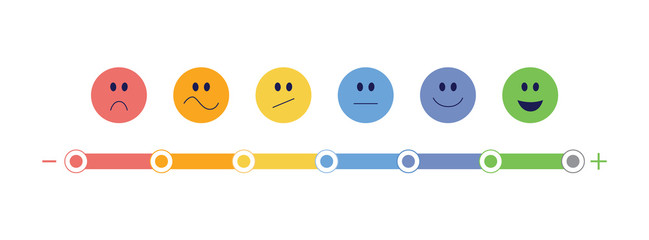 Feedback bar and emoticon scale vector illustration isolated on white background.