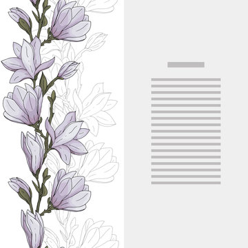 Seamless border and card template with hand drawn magnolia flower with branches and leaves vector illustration