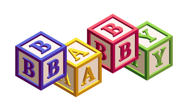 Isometric Kids Blocks with Letters and a Word 'Baby'