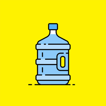 5 gallon water bottle line icon. Large clear blue plastic bottled mineral water container symbol isolated on yellow background. Vector illustration.