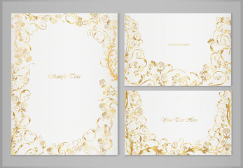 Set of vector greeting cards with golden roses and decorative ornaments on a light background