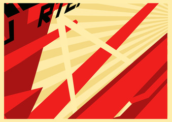 Illustration of abstract constructivism style poster.
