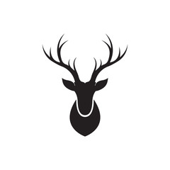 Reindeer head black vector illustration