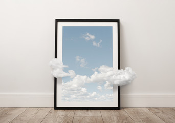 Abstract picture of the sky with clouds coming out of the frame