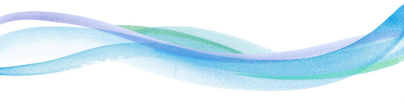 水流イメージの水彩イラスト。アブストラクト