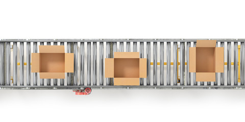 Wall Mural - Conveyors with cardboard boxes on white background. 3d illustration