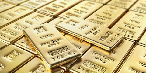 Golden bars isolated on a white background. 3d illustration