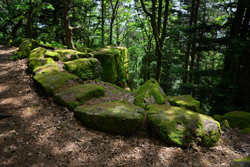 Pagan wall in the wood near st. odilie monastery in Alsace, France. One of the most mysterious locations in Alsace.
