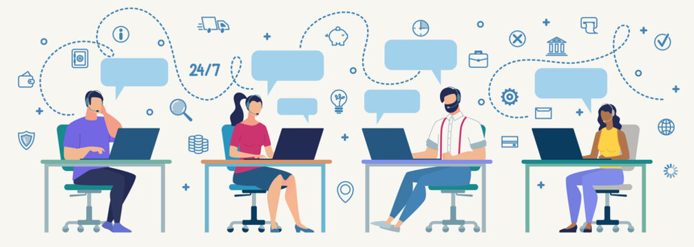 Call Center Operators at Work Flat Vector Concept