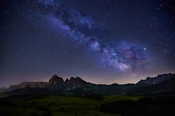 Milky Way over Alpe di Siusi in Dolomites, Italy