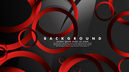 Abstract metal vector background with luxurious shiny red dark circles