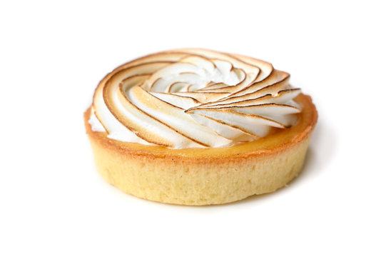 Lemon meringue tart on white background - isolated