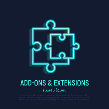 Browser add neon thin line icon: two details of puzzle. Modern vector illustration.