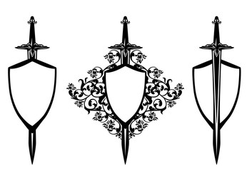 shield and sword among rose flowers - decorative medieval protection symbol black and white vector design