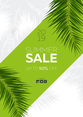 Wall Mural - Sale banner with Summer Tropical palm leaves. Exotic palms tree. Floral Background.