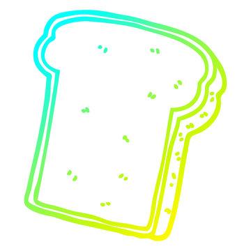 cold gradient line drawing cartoon slice of bread