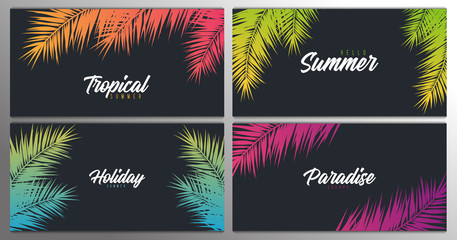Wall Mural - Set of Summer Tropical palm leaves. Exotic palms tree. Floral Background.