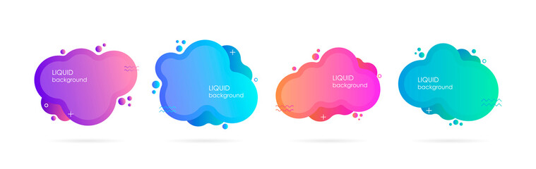 Abstract liquid shape. Fluid design. Isolated gradient waves. Modern vector illustration