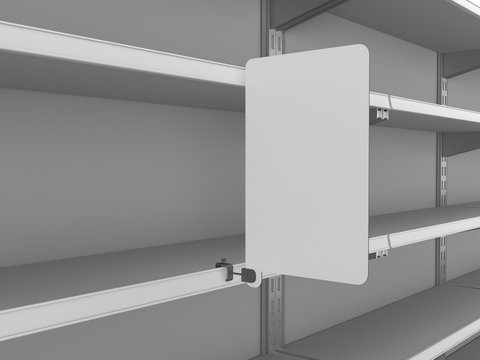 Supermarket Shelves With Attached Banner Or Wobbler. Blank Shelf Flag Display Mock-up. 3D rendering