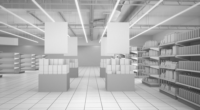 Supermarket Shelves With Blank Banners And Lots Of Products. 3D rendering