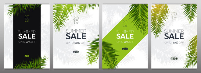 Set of Sale banners with Summer Tropical palm leaves. Exotic palms tree. Floral Background.