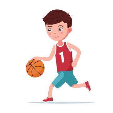 Boy basketball player runs with the ball
