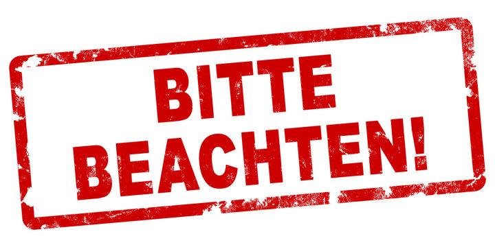 nlsb682 NewLongStampBanner nlsb - german text: Bitte beachten! - Stempel / einfach / rot / Vorlage - Seitenverhältnis 2:1 - 2zu1 xxl g7991